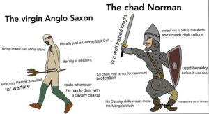 *laughs in 1066*: The chad Norman  The virgin Anglo Saxon  prefect mix of Viking manliness  and French High culture  literally just a Germanized Celt  barely unified half of his island  literally a peasant  used heraldry  full chain mail armor for maximum  before it was cool  protection  sedentary lifestyle; unsuited  for warfare  routs whenever  he has to deal with  a cavalry charge  his Cavalry skills would make  the Mongols blush  Pioneered the use of Stirrups  is a well trained knight *laughs in 1066*