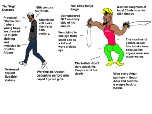 """The Virgin Durranis vs The Chad Ranjit Singh.: The Chad Ranjit  Singh  The Virgin  Durranis  Married daughters of  local Chiefs to unite  18th century  terrorists.  Sikh Empire  Outnumbered  Practiced  """"Bacha Bazi  """"where  30:1 on every  Afganistan  still looks  side of his  empire.  like it's in  young boys  are dressed  18th  aUCH!  Went blind in  century  up in girls  clothing  and  one eye from  small pox as  a kid and  The muslims of  Lahore asked  molested by  drunker  him to take over  wore a glass  because the  eye  Afgans.  afgans were so0  much worse.  The british didn't  dare attack his  Destroyed  ancient  Empire until his  death  Worship an Arabian  pedophile warlord who  raped 8 yr old girls.  Won every Afgan  territory in South  Asia and sent the  Buddhist  statues.  savages back to  Kabul. The Virgin Durranis vs The Chad Ranjit Singh."""