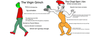 The Virgin Illumination Grinch Movie vs the Chad Netflix Green Eggs and Ham Show: The Chad Sam I Am  The Virgin Grinch  Brilliant animated series  Mediocre animated film  Beautiful hand drawn animation  Cgi animation  Made by Illumination which is one of the worst animation studios  Is faithful to Dr. Seuss' book of the same name  while succeeding in stretching the book  to a full series.  The original was way better  and it makes the  Made by Warner Brothers Animation which is a respected TV animation studio  Jim Carrey live action film look great by comparison.  Narrated by Pharrell Williams  Narrated by Keegan Michael Key from Key and Peele  Voiced by Benedict Cumberbatch  Voiced by Adam Devine,  Grinch isn't grumpy enough.  the voice of Pizza Steve and star of Workaholics  Sam I Am acts exactly like his book counterpart. The Virgin Illumination Grinch Movie vs the Chad Netflix Green Eggs and Ham Show
