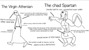 Jealous, Nerd, and Run: The chad Spartan  The Virgin Athenian  Literally built for war; unmatched super soldier  Doesn't even let his wife outside because he's  afraid hell be cucked by chad  Built for learning and  other nerd shit  will run away when he loses a fight  Athens hates him because of his Liberated women;  while in reality Athens is jealous because both men and  women were attracted to chad  will come home with his shield  or on top of it  probably a pedophile  proud  owner of 500 helots  slavery, but he  claims to be a democracy  His society is built on Soyboy Athens vs Manbeast Sparta