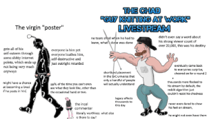 """Destiny, Internet, and Reddit: THE CHAD  UY KNITTING AT WORK  LIVESTREAM  The virgin """"poster""""  didn't even say a word about  his strong viewer count of  over 20,000, this was his destiny  no tears shed when he had to  leave, what done was done  gets all of his  self-esteem through  everyone is him yet  everyone loathes him  some shitty internet  points, which ends up  not being very much  self-destructive and  just outright retarded  eventually came back  to everyones surprise,  anyways  shortlived placement  in the vC universe that  only a handful of people  will actually understand  cheered on for a round 2  thousands more flocked to  might have a chance  at becoming a brad  if he posts in VvC  99% of the time you can't even  his stream by default, the  reddit algorithm just  couldn't resist his chadness  see what they look like, other than  the occasional hand or two.  legacy affects  thousands to  the incel  never even dared to show  his feet on stream,  this day  commenter  literally worthless. what else  is there to say?  he might not even have them The virgin """"poster"""" vs the chad """"guy knitting at work"""" livestream"""