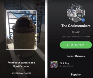Spotify, Camera, and Image: The Chainsmokers  FOLLOW  30,835,303 MONTHLY LISTENERS  SHUFFLE PLAY  Latest Release  BOY  Point your camera at a  Sick Boy  Spotify code.  4 SONGS 2018  SELECT FROM PHOTOS  Popular I dont have a related image. Pewds needs to type /Seed to show us the seed so we can make our own broland