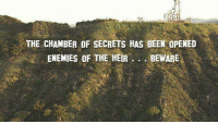 Someone changed the Hollywood sign again.: THE CHAMBER OF SECRETS HAS BEEN OPENED  ENEMIES OF THE HEIR  BEWARE Someone changed the Hollywood sign again.