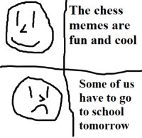 Memes, Chess, and Cool: The chess  memes are  fun and cool  Some of us  have to go  tomorrow