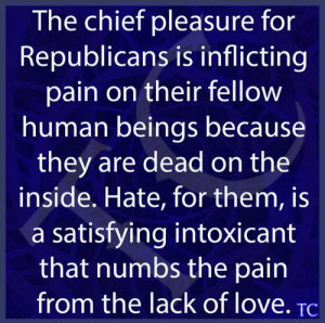 Love, Memes, and Change: The chief pleasure for  Republicans is inflicting  pain on their fellow  human beings because  they are dead on the  inside. Hate, for them, is  a satisfying intoxicant  that numbs the pain  from the lack of love. TC It's a cult now. Nothing will change them.