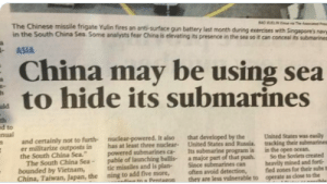 """Facepalm, China, and Chinese: The Chinese missile frigate Yulin fires an anti-surface gun battery last month during exercises with Singapore's navye  in the South China Sea. Some analysts fear China is elevating its presence in the sea so it can conceal its submarines  ASIA  China may be using sea  to hide its submarines  uld  th  ed to  nual  nuclear-powered. It also  has at least three nuclear-  powered submarines ca-  pable of launching ballis  tic missiles and is plan-  ning to add five more,  din tn a Pentagon  that developed by the  United States and Russia.  Its submarine program is  a major part of that push.  Since submarines can  often avoid detection,  they are less vulnerable to  and certainly not to furth-  er militarize outposts in  the South China Sea.""""  The South China Sea-  bounded by Vietnam,  China, Taiwan, Japan, the  United States was casly  tracking their submarines  in the open ocean  So the Soviets created  heavily mined and fort  fied zones for their subs to  operate as close to the Maybe so... but wouldn't we see it? 🤔"""