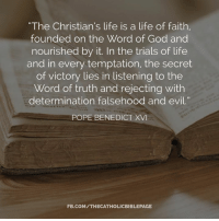 """Pope Benedict XVI: """"The Christian's life is a life of faith,  founded on the Word of God and  nourished by it. In the trials of life  and in every temptation, the secret  of victory lies in listening to the  Word of truth and rejecting with  determination falsehood and evil.""""  POPE BENEDICT XVI  FB.COMITHECATHOLICBIBLEPAGE"""