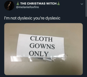 Christmas, Dank, and Memes: THE CHRISTMAS WITCH  @melaniefoxfire  I'm not dyslexic you're dyslexic  CLOTH  GOWNS  ONLY Meirl by Derplaty MORE MEMES