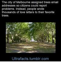 "At-St, Facts, and Heaven: The city of Melbourne assigned trees email  addresses so citizens could report  problems. Instead, people wrote  thousands of love letters to their favorite  trees  Ultrafacts.tumblr.com <p><a class=""tumblr_blog"" href=""http://catz-armada.tumblr.com/post/127770585772"">catz-armada</a>:</p> <blockquote> <p><a class=""tumblr_blog"" href=""http://ultrafacts.tumblr.com/post/124169762000"">ultrafacts</a>:</p> <blockquote> <p>Officials assigned the trees ID numbers and email addresses in 2013 as part of <a href=""http://melbourneurbanforestvisual.com.au/"">a program</a> designed to make it easier for citizens to report problems like dangerous branches. The ""unintended but positive consequence,"" as the chair of Melbourne's Environment Portfolio, Councillor Arron Wood, put in an email, was that people did more than just report issues. They also wrote directly to the trees, which have received thousands of messages—everything from banal greetings and questions about current events to love letters and existential dilemmas.</p> <p>""The email interactions reveal the love Melburnians have for our trees,"" Wood said. Here are some emails Arron shared.</p> <blockquote> <p><b>To: Golden Elm, Tree ID 1037148</b></p> <p>21 May 2015<br/>I'm so sorry you're going to die soon. It makes me sad when trucks damage your low hanging branches. Are you as tired of all this construction work as we are?</p> </blockquote> <blockquote> <p><b>To: Algerian Oak, Tree ID 1032705</b></p> <p>2 February 2015</p> <p>Dear Algerian oak,</p> <p>Thank you for giving us oxygen.</p> <p>Thank you for being so pretty.</p> <p>I don't know where I'd be without you to extract my carbon dioxide. (I would probably be in heaven) Stay strong, stand tall amongst the crowd.</p> <p>You are the gift that keeps on giving.</p> <p>We were going to speak about wildlife but don't have enough time and have other priorities unfortunately.</p> <p>Hopefully one day our environment will be our priority.</p> </blockquote> <blockquote> <p><b>To: Green Leaf Elm, Tree ID 1022165  </b></p> <p>29 May 2015</p> <p>Dear Green Leaf Elm,</p> <p>I hope you like living at St. Mary's. Most of the time I like it too. I have exams coming up and I should be busy studying. You do not have exams because you are a tree. I don't think that there is much more to talk about as we don't have a lot in common, you being a tree and such. But I'm glad we're in this together.</p> <p>Cheers,<br/>F</p> </blockquote> <p><a href=""http://www.citylab.com/tech/2015/07/when-you-give-a-tree-an-email-address/398219/"">Source</a></p> <p>Follow <a href=""http://ultrafacts.tumblr.com/""><b>Ultrafacts</b></a> for more facts!</p> </blockquote> <p>This is adorable omg</p> </blockquote>"