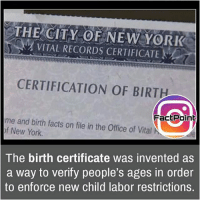 Memes, 🤖, and Page: THE CITY OF NEW YORK  VITAL RECORDS CERTIFICATE  CERTIFICATION OF BIRTH  Fact Point  me and birth facts on in the Office of Vital N  file of New York.  The birth certificate was invented as  a way to verify people's ages in order  to enforce new child labor restrictions. Follow our page for more Facts 😇 Don't forget to tag your friends 💖