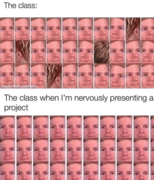 Presenting: The class:  made with mematic  The class when I'm nervously presenting a  project