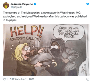The co-owners of a family owned Missouri newspaper resigned from their positions in protest after the newspaper's publisher - their father - made the decision to run the racist cartoon without informing them: The co-owners of a family owned Missouri newspaper resigned from their positions in protest after the newspaper's publisher - their father - made the decision to run the racist cartoon without informing them