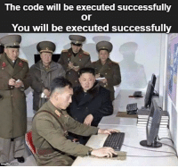 Code, The Code, and Options: The code will be executed successfully  or  You will be executed successfully 2 options exist
