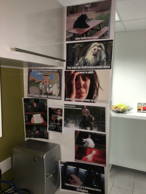 The coffee machine in our office is still missing, but my colleagues and I are making the best of it: The coffee machine in our office is still missing, but my colleagues and I are making the best of it