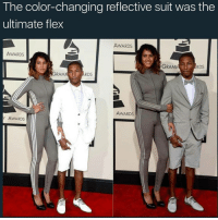 Memes, Pharrell, and 🤖: The color-changing reflective suit was the  ultimate flex  AWARDS  AWARDS  GRAMM  RDS  RAM  RDS  AWARDS  Y AWARDS pharrell flex so hard! @pmwhiphop @pmwhiphop