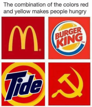 Burger King, Dank, and Hungry: The combination of the colors red  and yellow makes people hungry  BURGER  KING  TM  20  Fide Updated the old meme by dazthecat FOLLOW 4 MORE MEMES.