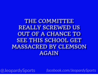 """What is: THE Ohio State University?"" #JeopardySports #CottonBowl https://t.co/JaKOqS70Tx: THE COMMITTEE  REALLY SCREWED US  OUT OF A CHANCE TO  SEE THIS SCHOOL GET  MASSACRED BY CLEMSON  AGAIN  @JeopardySportsfacebook.com/JeopardySports ""What is: THE Ohio State University?"" #JeopardySports #CottonBowl https://t.co/JaKOqS70Tx"
