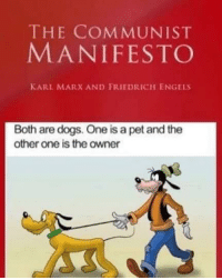 Original copy of Communist Manifesto (1848): THE COMMUNIST  MANIFESTO  KARL MARX AND FRIEDRICH ENGELS  Both are dogs. One is a pet and the  other one is the owner Original copy of Communist Manifesto (1848)