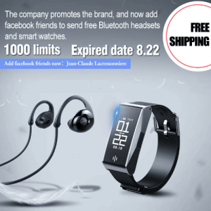 awesomage:  Free smart watches and sprots headphones. Hurry out, the quantity of return prize is limited.Add Facebook account to get it right away:Jean-Claude Lacressonniere  : The company promotes the brand, and now add  FREE  facebook friends to send free Bluetooth headsets  SHIPPING  and smart watches.  1000 limits Expired date 8.22  Add facebook friends now: Jean-Claude Lacressonniere  D THUR  01  22  0s.18  BH awesomage:  Free smart watches and sprots headphones. Hurry out, the quantity of return prize is limited.Add Facebook account to get it right away:Jean-Claude Lacressonniere