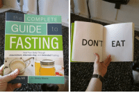 My wife bought a book, and I made a summary insert for her: the COMPLETE  GUIDEo  FASTING  DON'T EAT  Heal Your Body Through  Intermittent, Alternate-Day, and Extended Fasting  ung, MD  with Jimmy Moore My wife bought a book, and I made a summary insert for her