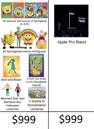Apple, Halloween, and Meme: THE COMPLETE THIRD SEASO  ar  50rtaNEs  he Complete i Season  The e ri  Pro Stand  $999  All seasons and movies of Spongebob  on DVD  Apple Pro Stand  All Spongebob meme minifigures  nOT JUST  SMPLE  SPONGE  SPONGEBOB  SQUAREPANTS  A front row ticket  Bold and Brash  to the Spongebob  musical  Mermaid Man and  2 tickets to  Barnacle Boy  Nickelodeon  Halloween  Universe  costumes  $999  $999 Choose wisely