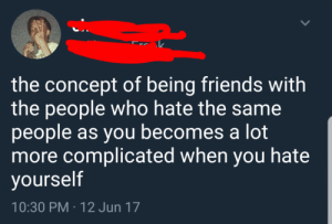 Friends, Irl, and Me IRL: the concept of being friends with  the people who hate the same  people as you becomes a lot  more complicated when you hate  yourself  10:30 PM 12 Jun 17 me irl