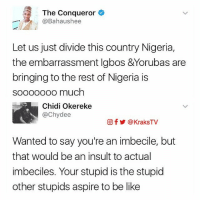 Be Like, Instagram, and Memes: The Conqueror  @Bahaushee  Let us just divide this country Nigeria,  the embarrassment lgbos &Yorubas are  bringing to the rest of Nigeria is  sooooooo much  Chidi Okereke  achy dee  Of Y @KraksTV  Wanted to say you're an imbecile, but  that would be an insult to actual  imbeciles. Your stupid is the stupid  other stupids aspire to be like Chisos 😂💔 This kind of savagery should be punishable by law‼️ 🔸Follow us on 📸 Instagram: @KraksHQ | @KraksNews | @KraksRadio 🔁 Twitter: KraksTV 👻 Snapchat: KraksTV 🌀Facebook: KraksTV | KraksHQ 🔴 YouTube: KraksHQ