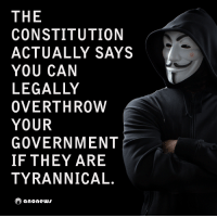 #Anonymous: THE  CONSTITUTION  ACTUALLY SAYS  YOU CAN  LEGALLY  OVERTHROW  YOUR  GOVERNMENT  IF THEY ARE  TYRANNICAL.  O a none #Anonymous