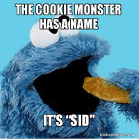 cookie monster: THE COOKIE MONSTER  HASANAME  IT'S SID  makeameme org