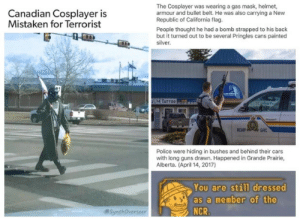 That one time Canadian police mistaken a Fallout Cosplayer for a terrorist!!!!!: The Cosplayer was wearing a gas mask, helmet,  armour and bullet belt. He was also carrying a New  Republic of California flag.  People thought he had a bomb strapped to his back  but it turned out to be several Pringles cans painted  silver  Canadian Cosplayer is  Mistaken for Terrorist  M TATTO0  RCMP  GRC  Police were hiding in bushes and behind their cars  with long guns drawn. Happened in Grande Prairie,  Alberta. (April 14, 2017)  You are still dressed  as a member of the  NCR  @SynthOverseer That one time Canadian police mistaken a Fallout Cosplayer for a terrorist!!!!!