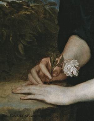 barcarole: Detail from Diana Cecil, Countess of Oxford, Anthony van Dyck, 1638.: THE COvnreS OF Ox barcarole: Detail from Diana Cecil, Countess of Oxford, Anthony van Dyck, 1638.