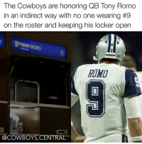 Re9pect 🙌 TonyRomo CowboysNation ✭ - 📷: @dallas_football: The Cowboys are honoring QB Tony Romo  in an indirect way with no one wearing #9  on the roster and keeping his locker open  ROMO  COWDOTS  @COWBOYS CENTRAL Re9pect 🙌 TonyRomo CowboysNation ✭ - 📷: @dallas_football