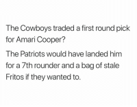 Credit: Tyler Kostrezewa: The Cowboys traded a first round pick  for Amari Cooper?  The Patriots would have landed hinm  for a 7th rounder and a bag of stale  Fritos if they wanted to. Credit: Tyler Kostrezewa