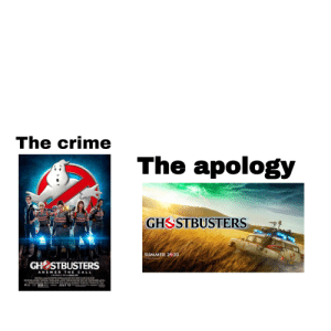 So excited: The crime  The apology  GHSSTBUSTERS  SUMMER 220  GH STBUSTERS  ANSWER THE CALL  JULY 15  SONY So excited