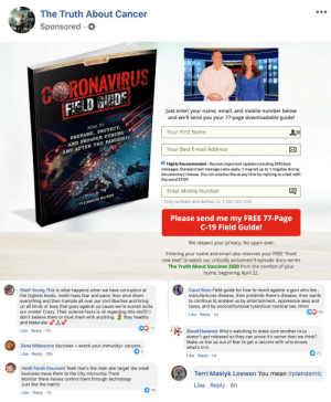 """The 'critically acclaimed' couple behind """"The Truth about Vaccines"""" is sponsoring ads on fb spreading this. Just read the comments.: The 'critically acclaimed' couple behind """"The Truth about Vaccines"""" is sponsoring ads on fb spreading this. Just read the comments."""