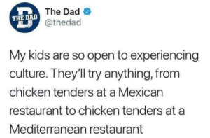 me irl: THE DAD The Dad  @thedad  My kids are so open to experiencing  culture. They'll try anything, from  chicken tenders at a Mexican  restaurant to chicken tenders at a  Mediterranean restaurant me irl