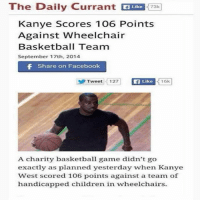 Basketball, Children, and Facebook: The Daily Currant EUR 73  Like  73k  Kanye Scores 106 Points  Against Wheelchair  Basketball Team  September 17th, 2014  Share on Facebook  Tweet 12  7  Like  16k  A charity basketball ame didn't go  exactly as planned yesterday when Kanye  West scored 106 points against a team of  handicapped children in wheelchairs. NeverForget smh 💀