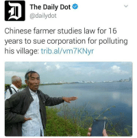 Memes, 🤖, and Corporation: The Daily Dot  adailydot  Chinese farmer studies law for 16  years to sue corporation for polluting  his village  tribal vm7KNyr Iconic