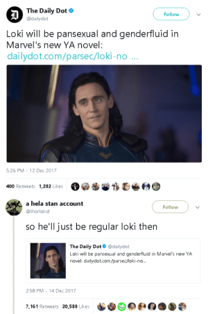 Bilbo, Stan, and Target: The Daily Dot  @dailydot  Follow  Loki will be pansexual and genderfluid in  Marvel's new YA novel:  dailydot.com/parsec/loki-no ..  5:26 PM-12 Dec 2017  400 Retweets 1,282 Likes  O@番誉がひé Θ   a hela stan account  @thorlokid  Follow  so he'll just be regular loki then  The Daily Dot@dailydot  Loki will be pansexual and genderfluid in Marvel's new YA  novel: dailydot.com/parsec/loki-no...  2:58 PM -14 Dec 2017  7.161 Retweets 20,589 Likes goawfma:  loki BEEN pansexual and genderfluid