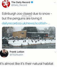 Let them enjoy: The Daily Record  @Daily_Record  Edinburgh zoo closed due to snow -  but the penguins are loving it  dailyrecord.co.uk/news/scottish-...  @WILL ENT  Frank Lotion  @702Austin  it's almost like it's their natural habitat Let them enjoy