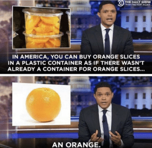 Me irl: THE DAILY SHOW  WITH TREVOR NOAH  IN AMERICA, YOU CAN BUY ORANGE SLICES  IN A PLASTIC CONTAINER AS IF THERE WASN'T  ALREADY A CONTAINER FOR ORANGE SLICES...  AN ORANGE. Me irl