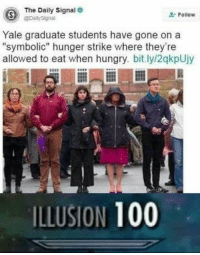 "Anaconda, Dank, and Hungry: The Daily Signal  Follow  @pailysignal  Yale graduate students have gone on a  ""symbolic hunger strike where they're  allowed to eat when hungry. bit.ly/2qkpUjy  0  ILLUSION 100 <p>True heroes. via /r/dank_meme <a href=""https://ift.tt/2zrghJx"">https://ift.tt/2zrghJx</a></p>"