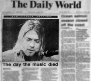 Alive, Love, and Music: The Daily World  The day the music died in-utero-kurt:  5th April, 1994.   23 years ago, the world lost a great musician and human being.   23 years ago, Kurt Cobain tragically died, leaving behind him fans who are still hurt to this day and who miss him dearly.  I never got to experience how it would be to lose a person who means so much for you, and even though I wasn't around when Kurt was alive, I feel like I have known him enough to have the tears forming in my eyes and a dreadful feeling filling my soul. A feeling of depression and emptiness inside  of me.   Rest in peace Kurt, wherever you are.   I just wish that you would know how much you mean for a lot of people all over the world. How much your music meant to us. How much we love you and cherish you as a human being. Wherever you are, I hope that you would finally reach Nirvana.  Rest in peace, you wonderful human being. You may be gone, but never forgotten.