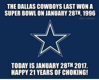 Dallas Cowboys, Memes, and Super Bowl: THE DALLAS COWBOYS LAST WON A  SUPER BOWL ON JANUARY 28TH, 1996  @NFL MEMES  TODAY IS JANUARY 28TH 2017  HAPPY 21 YEARS OF CHOKING! Happy Anniversary 🎂
