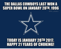 Dallas Cowboys, Memes, and Nfl: THE DALLAS COWBOYS LAST WON A  SUPERBOWL ONJANUARY 28TH, 1996  @NFL MEMES  TODAY ISJANUARY 28TH 2017  HAPPY 21 YEARS OF CHOKING!