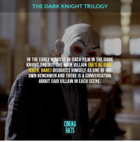What's your favorite villain in the Dark Knight trilogy? - Follow @cinfacts and tag your friends — thedarkknight joker bane batman batmanbegins thedarkknightrises tomhardy heathledger rasalghul liamneeson dccomics dccomicsfacts dcmovies thedarkknighttrilogy villains villain comics cinema_facts cinema movies jaredleto jokerlovers brucewayne benaffleck logan: THE DARK KNIGHT TRILOGY  IN THE EARLY MINUTES OF EACH FILM IN THE DARK  KNIGHT TRILOGY, THE MAIN VILLAIN  (RA'S AL GUHI  JOKER, BAN  DISGUISES HIMSELFAS ONE OF HIS  OWN HENCHMEN AND THERE IS A CONVERSATION  ABOUT SAID VILLAININ EACH SCENE.  CINEMA  FACTS What's your favorite villain in the Dark Knight trilogy? - Follow @cinfacts and tag your friends — thedarkknight joker bane batman batmanbegins thedarkknightrises tomhardy heathledger rasalghul liamneeson dccomics dccomicsfacts dcmovies thedarkknighttrilogy villains villain comics cinema_facts cinema movies jaredleto jokerlovers brucewayne benaffleck logan