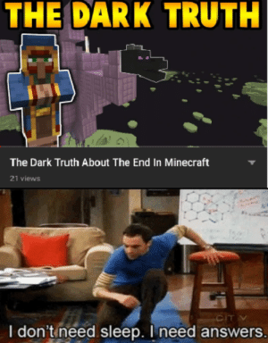 Minecraft, Thank You, and Cool: THE DARK TRUTH  The Dark Truth About The End In Minecraft  21 views  CIT  I don'tineed sleep. I need answers. Thank you ibxtoycat, very cool