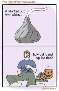 Dank, Halloween, and Ups: the day after halloween  it started out  with a kiss...  how did it end  up like this?  pleated Jeans