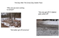"""snow-day: The Day After The Snow Day Starter Pack  """"Why are we even coming  to school?""""  """"We only get off if X district  gets called off!""""  """"We better get off tomorrow"""""""