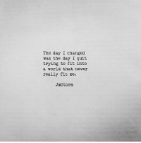 The day I changed  was the day I quit  trying to fit into  a world that never  really fit me.  JmStornm